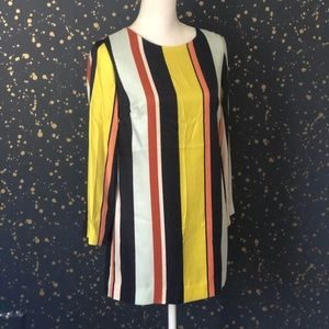 Boden Long Sleeved Silk-Blend Striped Shift Dress